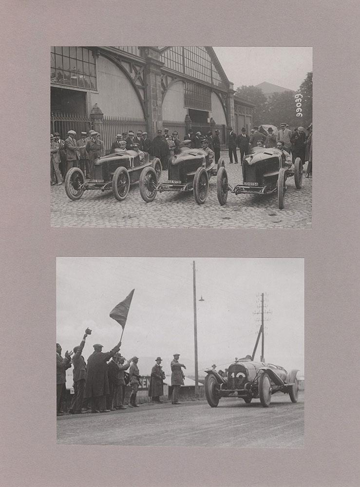 Top: Fiat team before race Bottom: Henri Rougier winning fuel consumption Grand Prix,1922