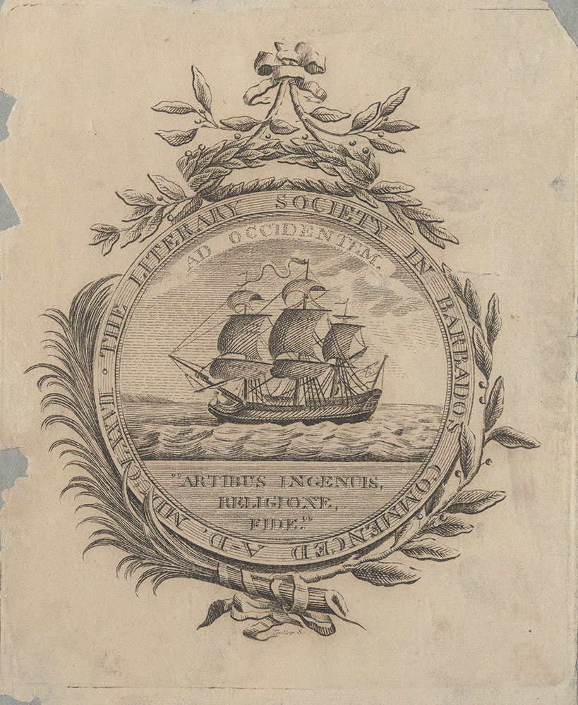 Bookplate of the Literary Society in Barbados