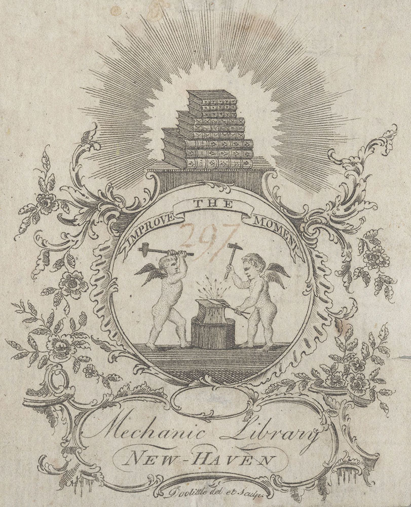Bookplate for the Mechanic Library of New Haven