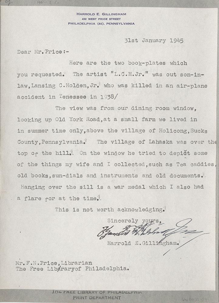 Letter from Harrold Edgar Gillingham to F. N. Price