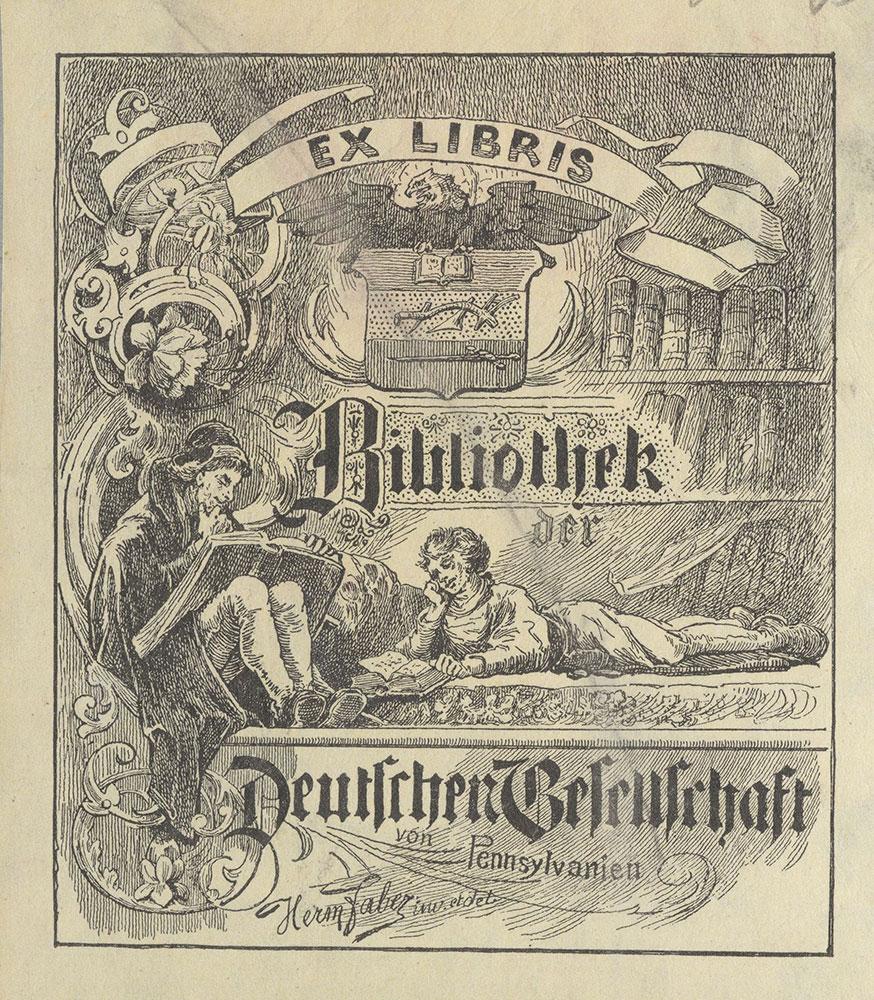 Bookplate of the Bibliothek der Deutschen Gesellschaft von Pennsylvanien