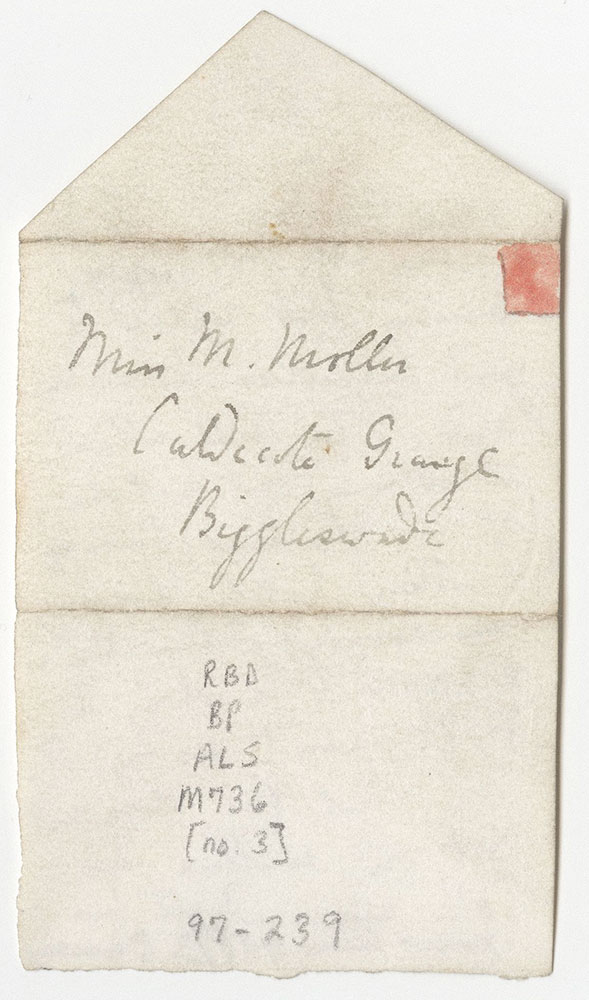 Miniature letter to Marjorie Moller from