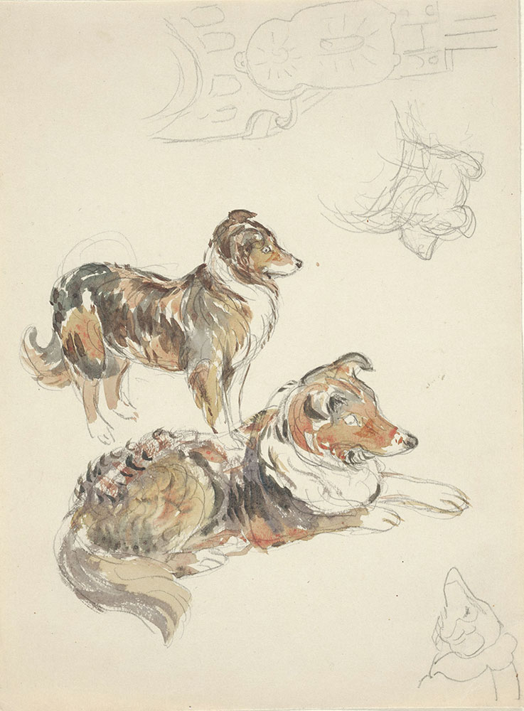 Pencil and watercolor studies of a sheepdog and bench end