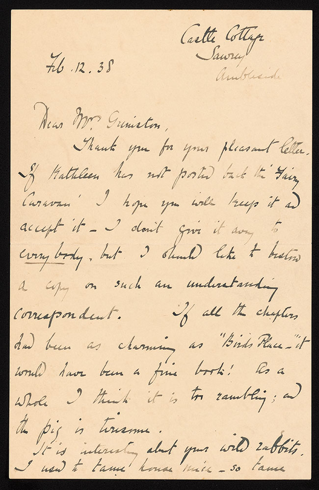 Autograph letter signed, to Mrs. M. C. Grimston