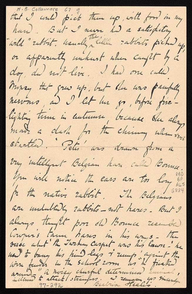 Autograph letter signed, to Mrs. M. C. Grimston, page 2