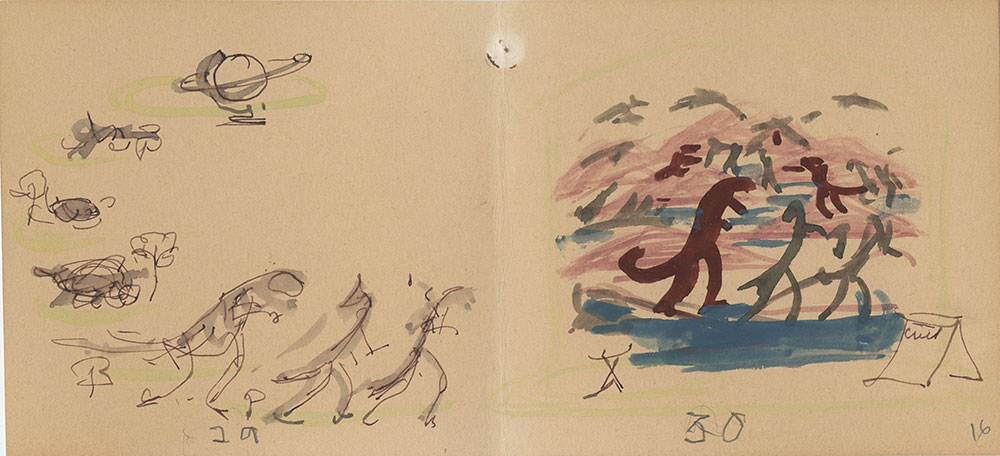Preliminary sketches for Life Story, Act II, Scene 3