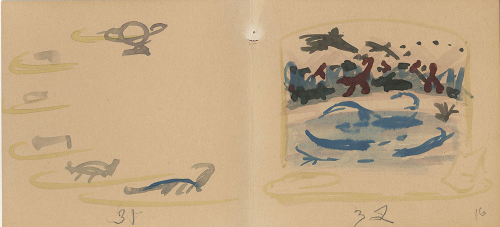 Preliminary sketches for Life Story, Act II, Scene 4