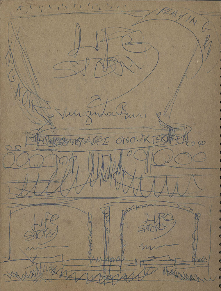 Back cover, verso, of green sketchbook for Life Story