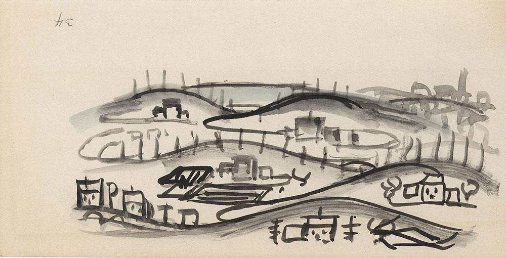 Sketch of rural landscape, for Life Story