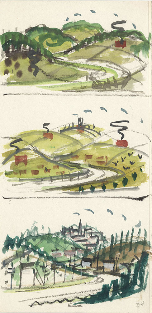 Sketches of three rural landscapes, for Life Story