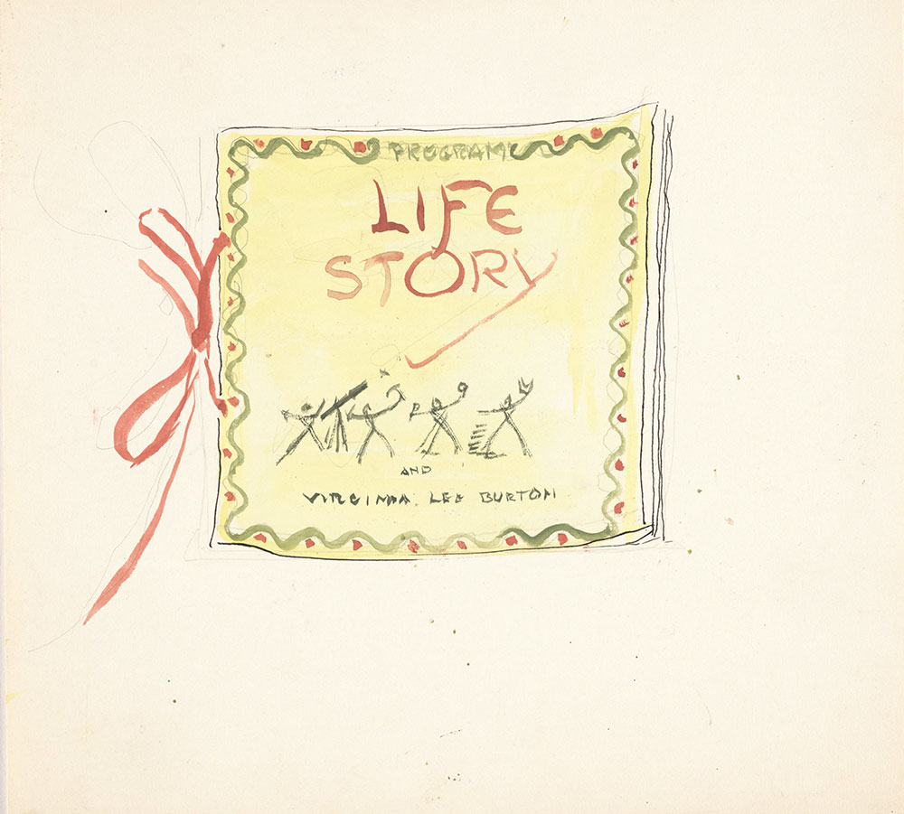 Preliminary art for half title page of Life Story