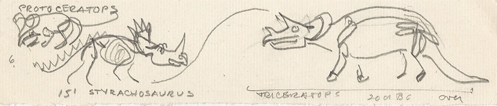 Preliminary art of triceratops, for Life Story