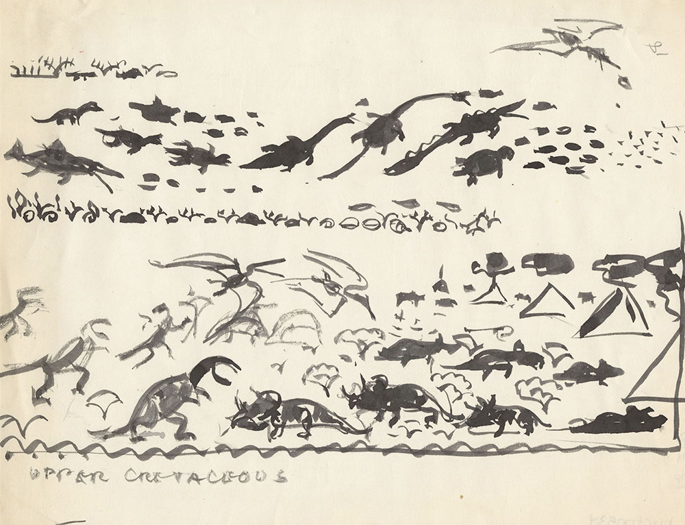 Preliminary art of dinosaurs, for Life Story