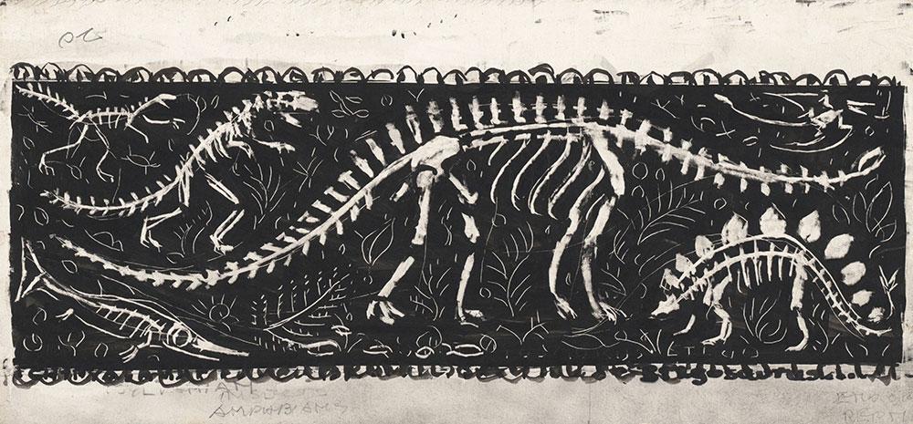 Preliminary art of dinosaur skeletons, for Life Story