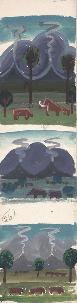 Preliminary art of landscape with mammals, for Life Story