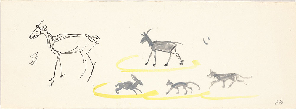 Preliminary art of goats and bunnies, for Life Story