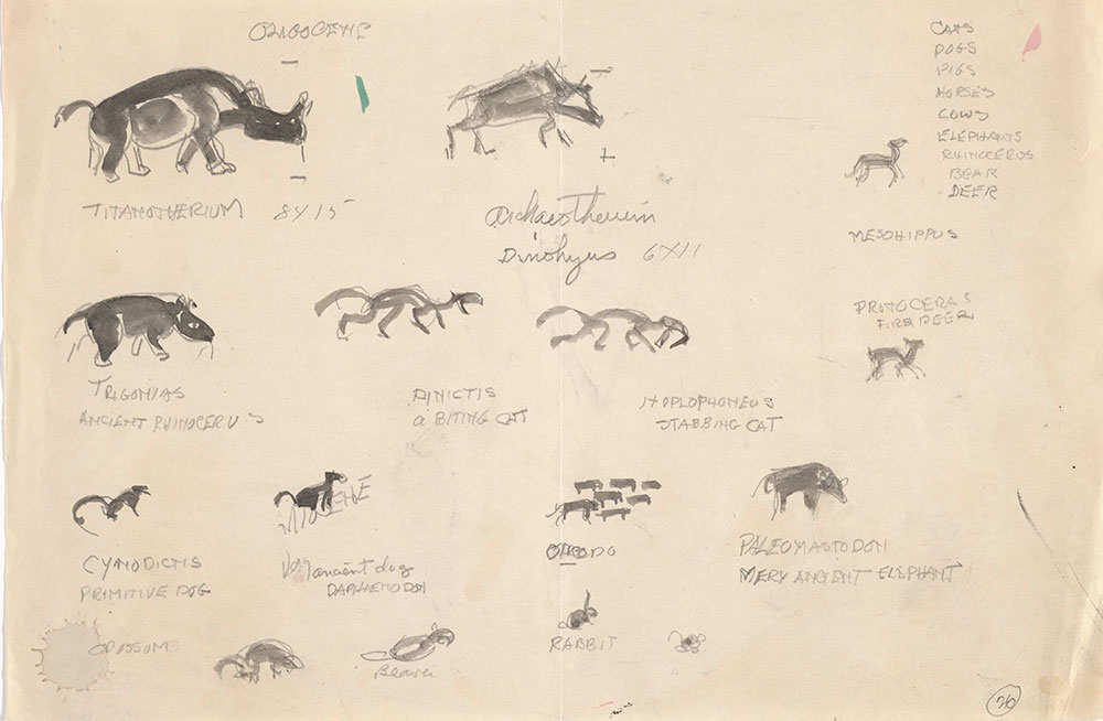 Preliminary art of mammals, for Life Story