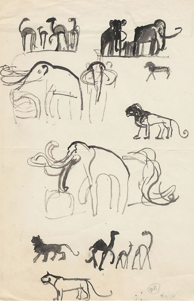 Preliminary art of mammoths, for Life Story