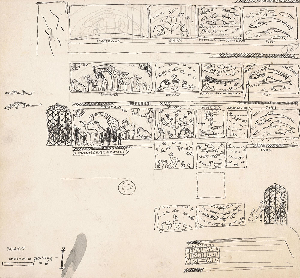 Preliminary art of endpapers, for Life Story