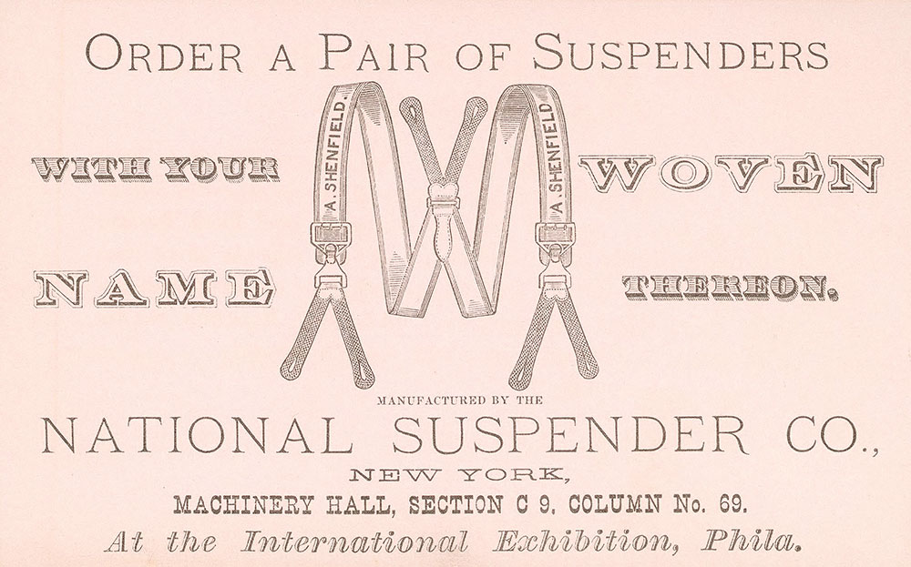 Order a pair of suspenders with your name woven...