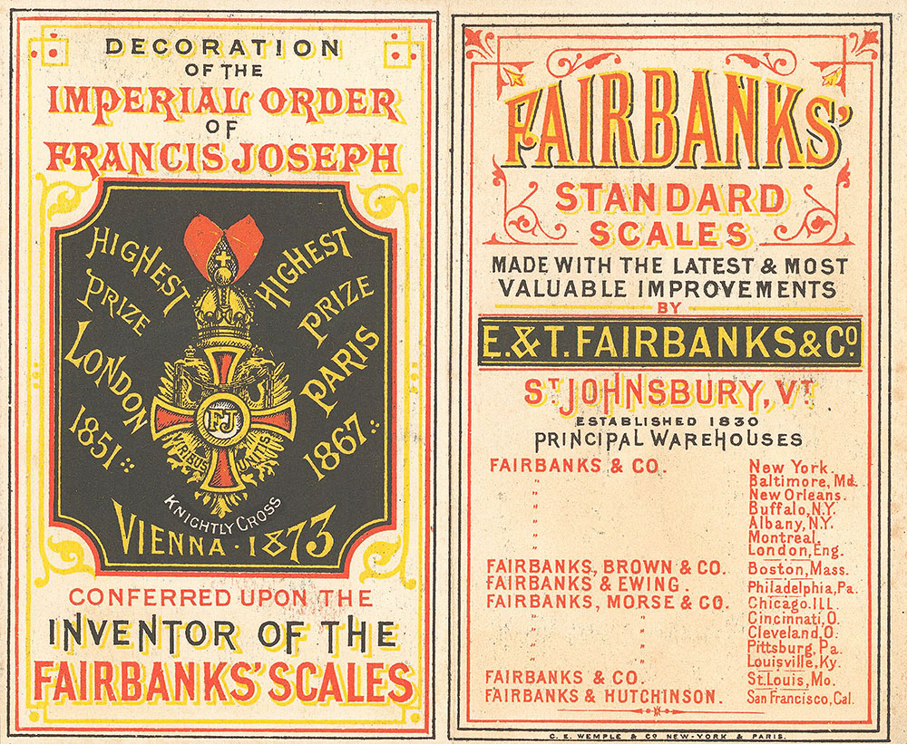 Fairbanks' standard scales