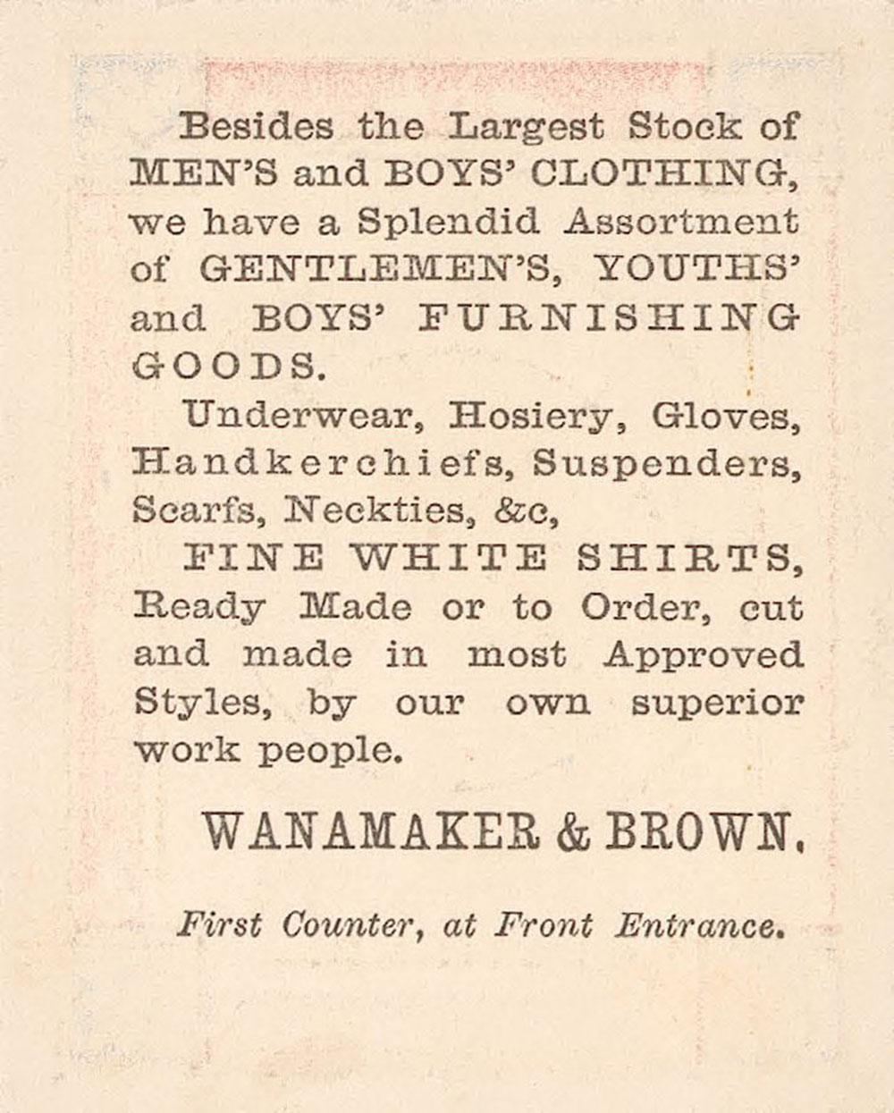 Wanamaker Brown clothing