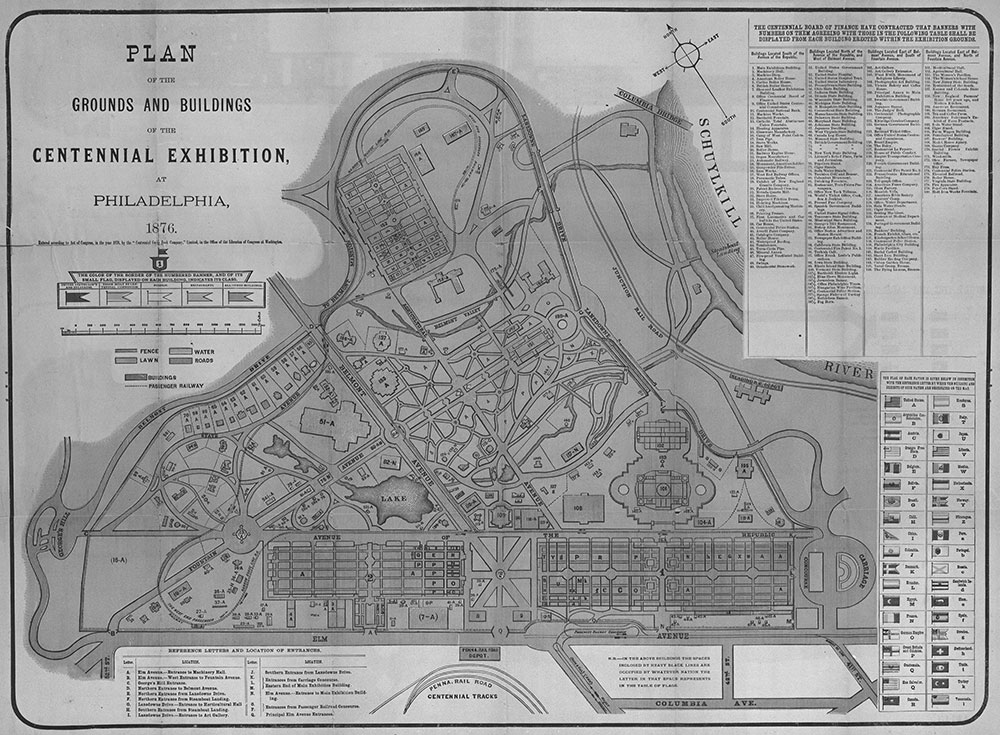 Plan of the Grounds and Buildings of the Centennial Exhibition, at Philadelphia, 1876.