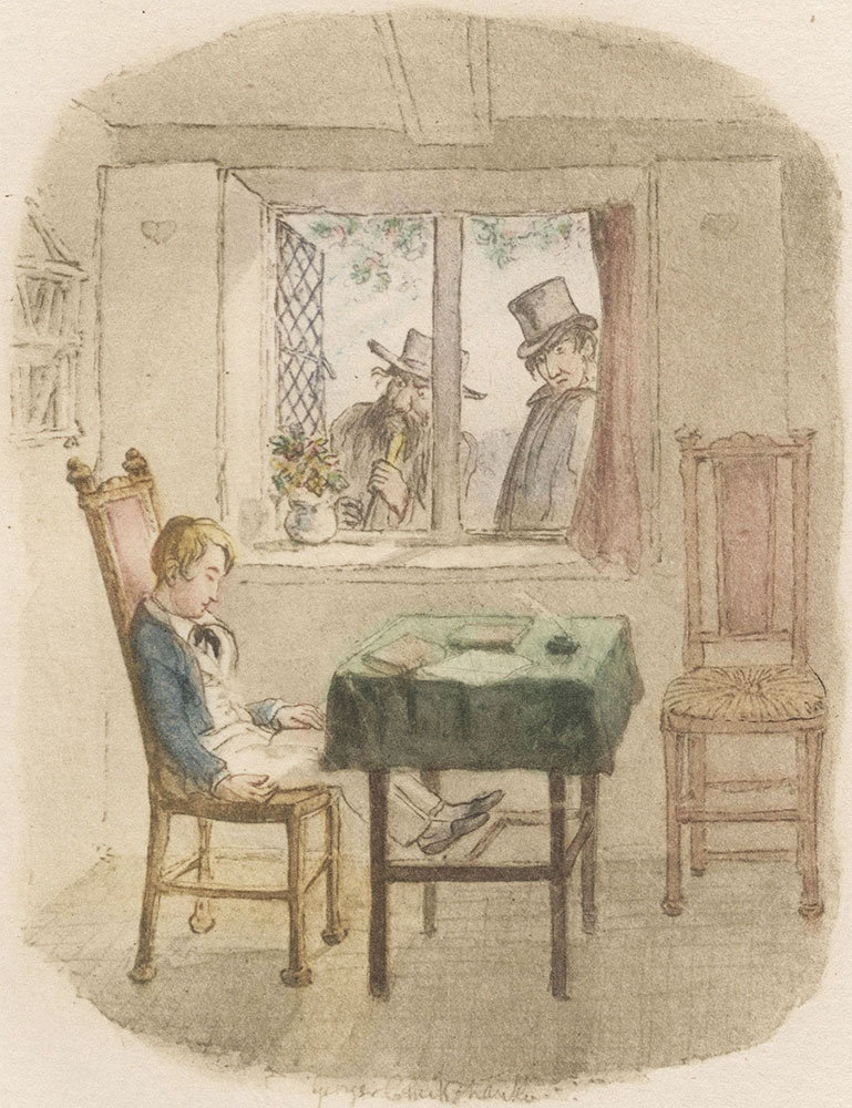 Watercolor drawing illustrating Oliver Twist