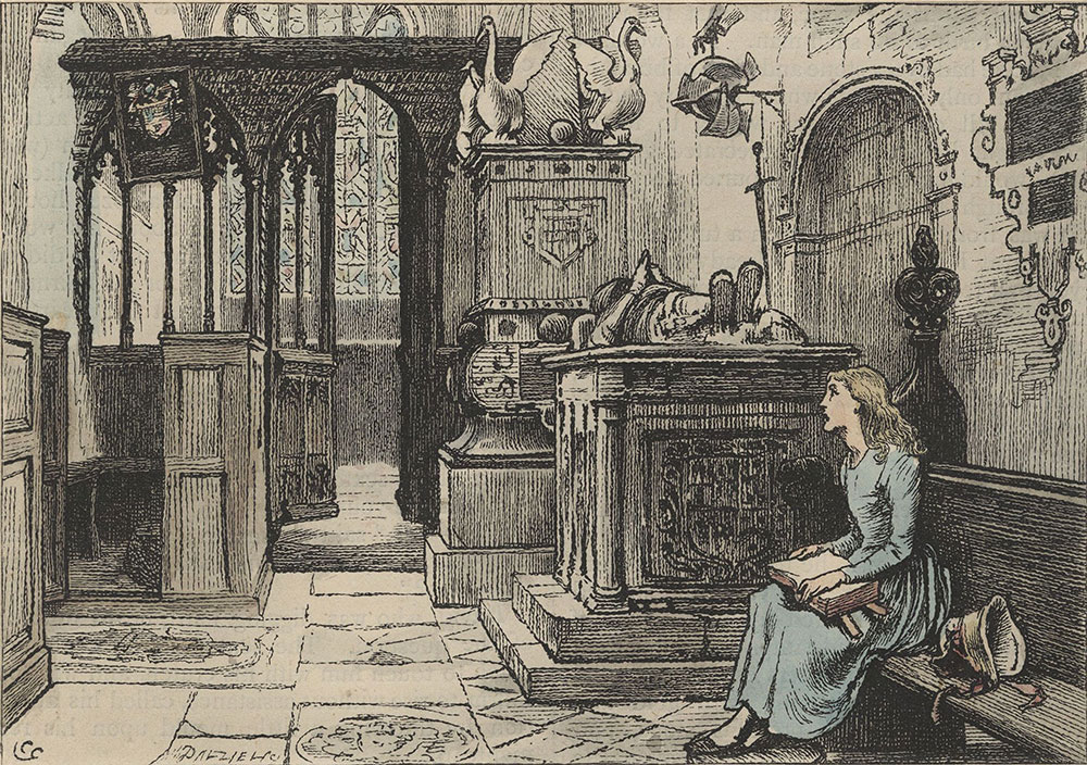 Illustrations to Old Curiosity Shop--The child sat down in this old, silent place