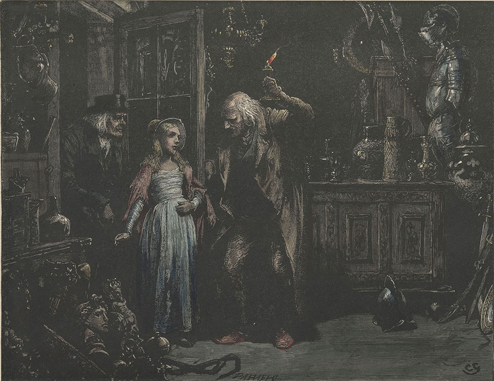 Illustrations to Old Curiosity Shop--The door being opened, the child addressed him as her grandfather
