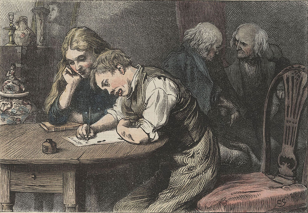 Illustrations to Old Curiosity Shop--When he did sit down, he tucked up his sleeves and squared his elbows and put his face close to the copy-book