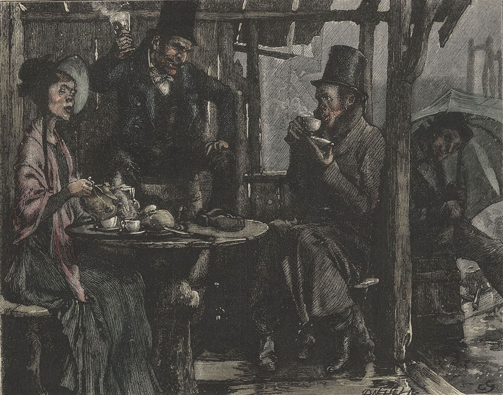 Illustrations to Old Curiosity Shop--Elevating his glass, drank to their next merry-meeting in that jovial spot