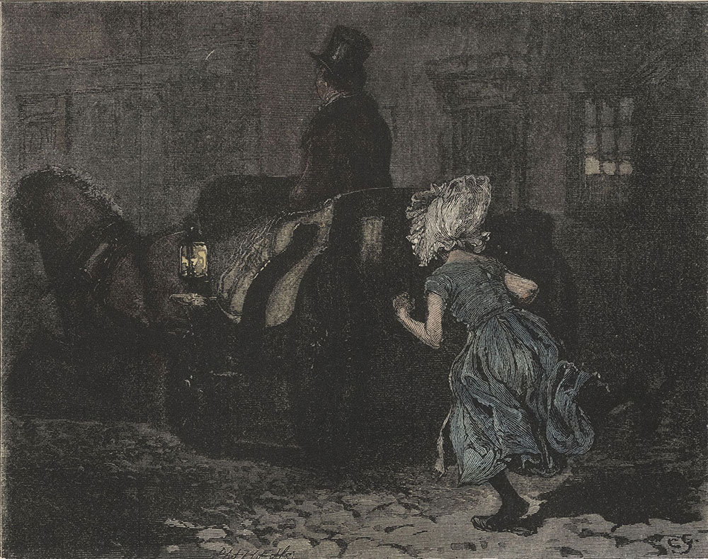 Illustrations to Old Curiosity Shop--She had nothing for it now, therefore, but to run after the chaise
