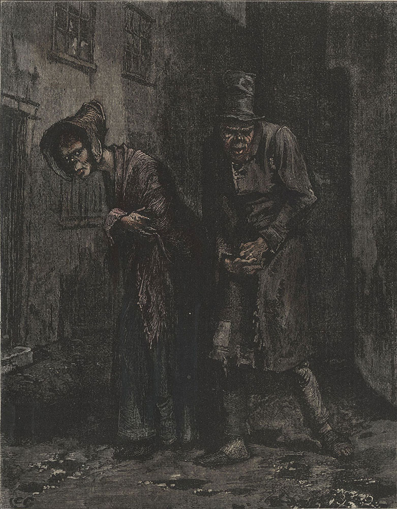 Illustrations to Old Curiosity Shop--Two wretched people were more than once observed to crawl at dusk from the inmost recesses of St. Giles's