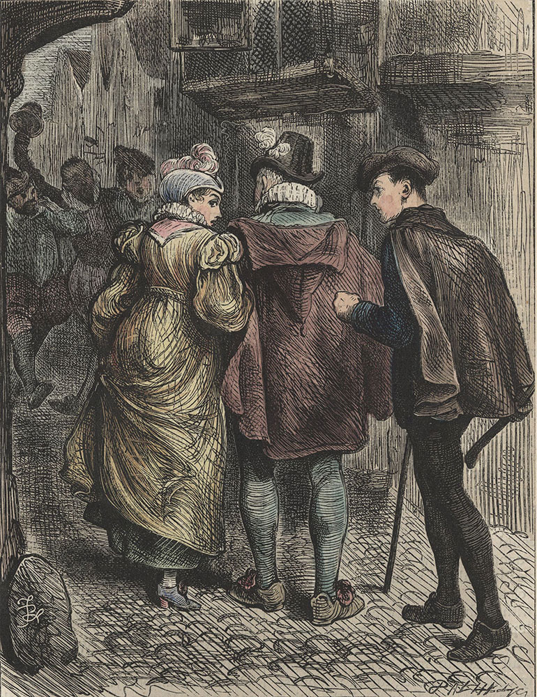 Illustrations to Old Curiosity Shop--At such times, or when the shouts of straggling brawlers met her ear, the Bowyer's daughter would look timidly back at Hugh, beseeching him to draw nearer.