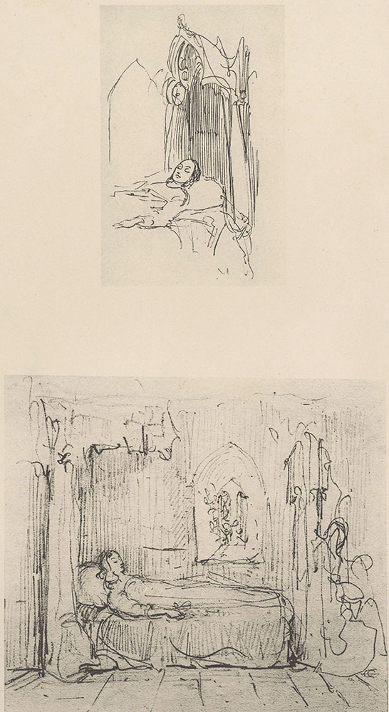 "Illustrations to Old Curiosity Shop--Two studies for ""The Death-Bed of Little Nell"""