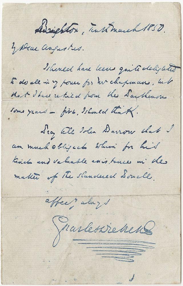 ALs to Augustus Dickens