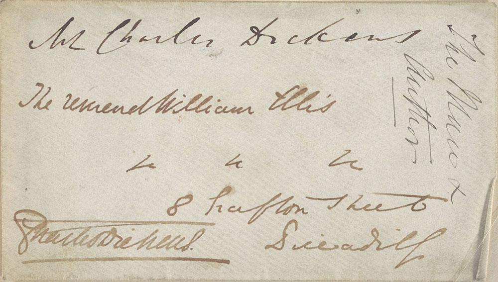 Envelope for ALs to The Reverend William Ellis