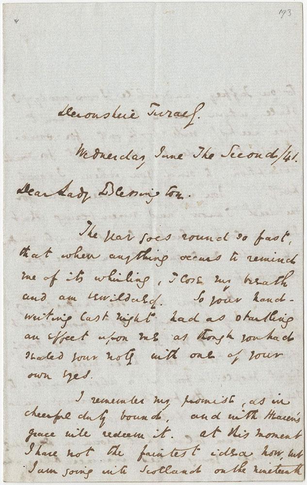 ALs to Lady Blessington