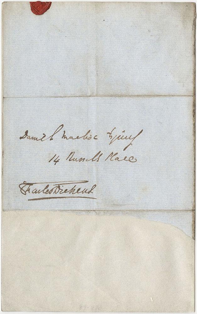 Envelope for ALs to Daniel Maclise