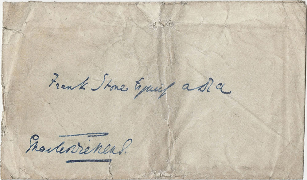 Envelope for ALs to Frank Stone