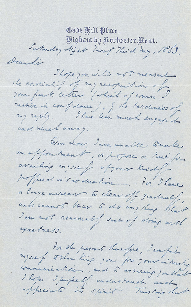 ALs to Rev. Henry Ward