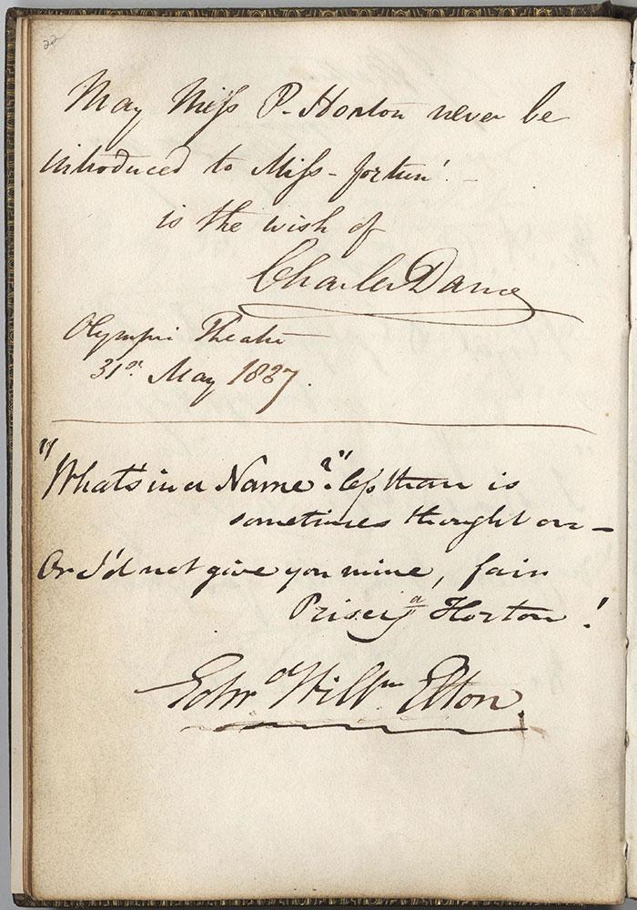 Autograph album of Priscilla Horton