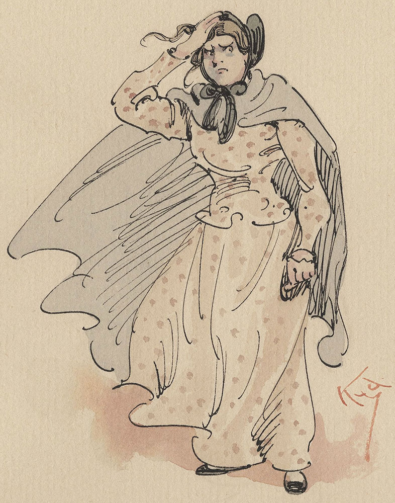 Watercolor Drawing Illustrating Dickens's Dombey & Son