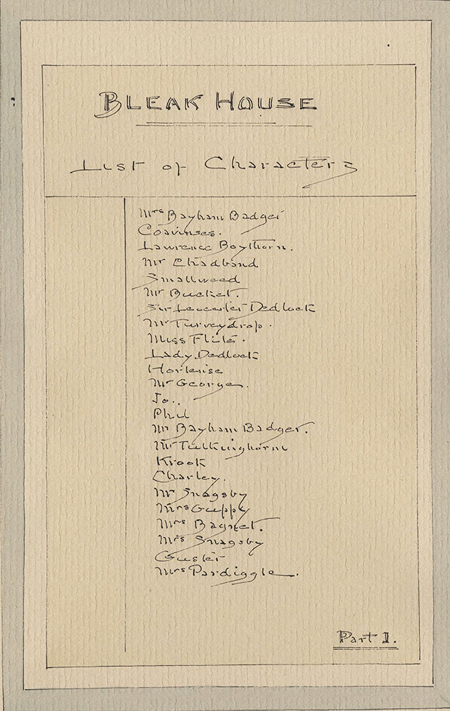 Illustrations of Characters in Dickens's Bleak House--List of Characters