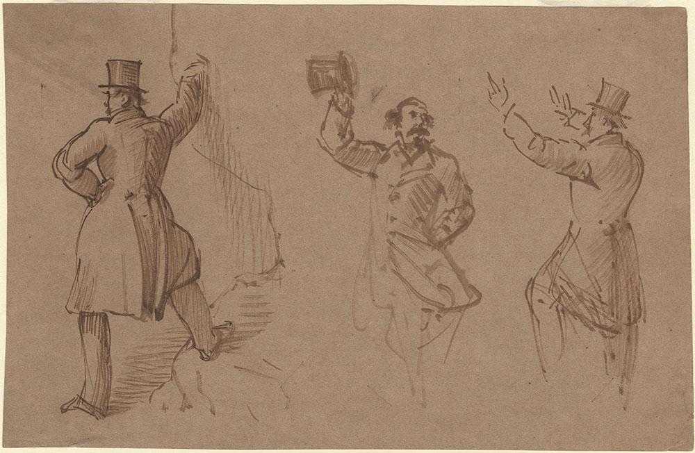 Three portrait studies of Charles Dickens