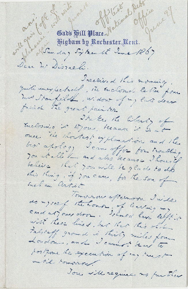 ALs to Benjamin Disraeli