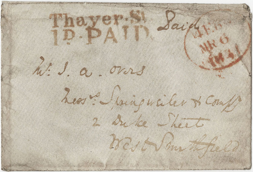 Envelope for ALs to John A. Overs