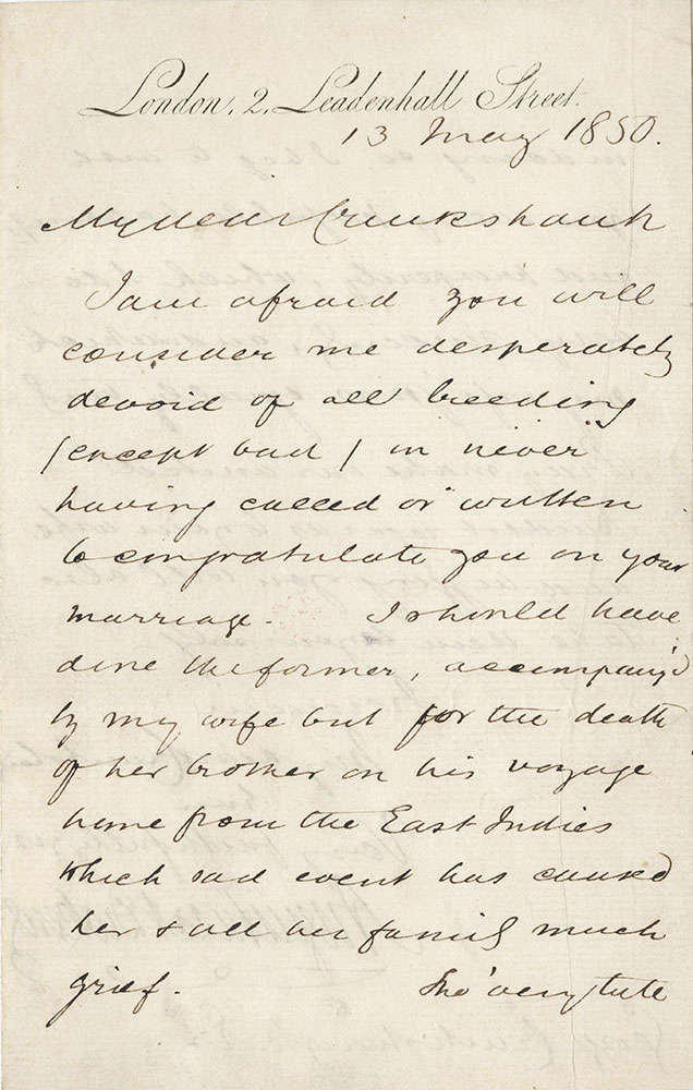 ALs to George Cruishank from Augustus Dickens
