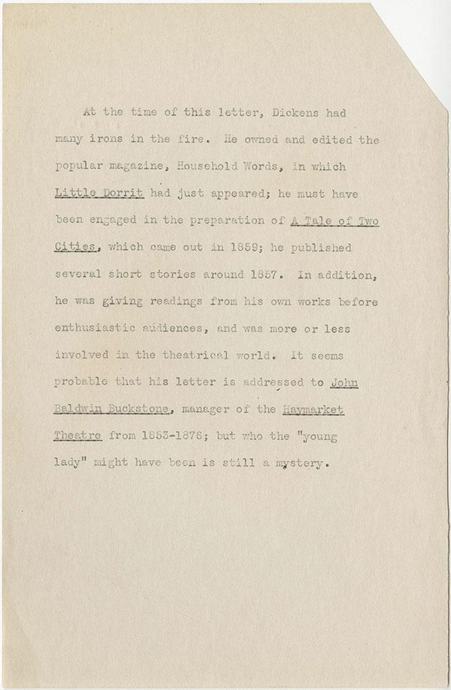 ALs to J.B. Buckstone (typed)